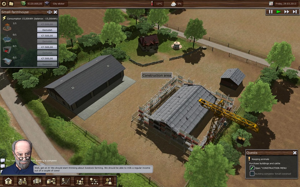 Constructing buildings in Farming Manager