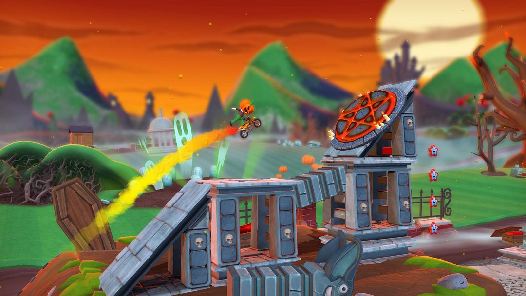 Smashing pentagrams in Joe Danger 2: Undead Movie Pack